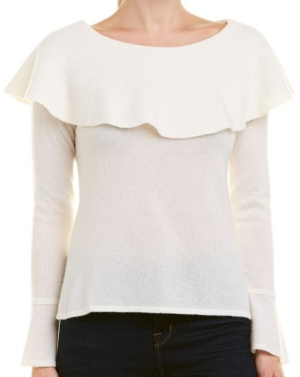 QI CASHMERE Off-The-Shoulder Cashmere Sweater