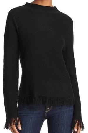 AQUA CashmereFringed Cashmere Sweater