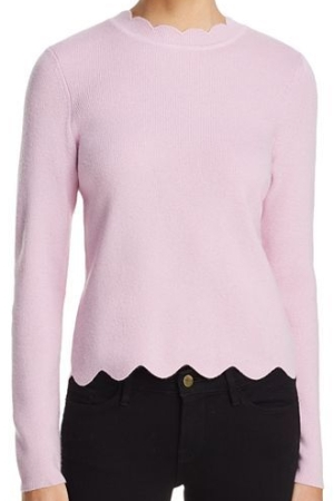 AQUA CashmereCashmere Scallop-Trim Sweater